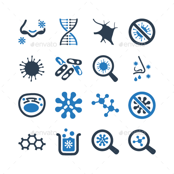 Biology Icons - Blue Version - Web Icons