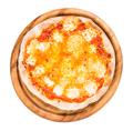 Delicious margarita pizza on wooden platter.