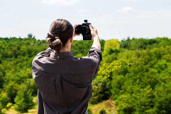 Young man taking selfie shot on outdoor. - Stock Photo - Images