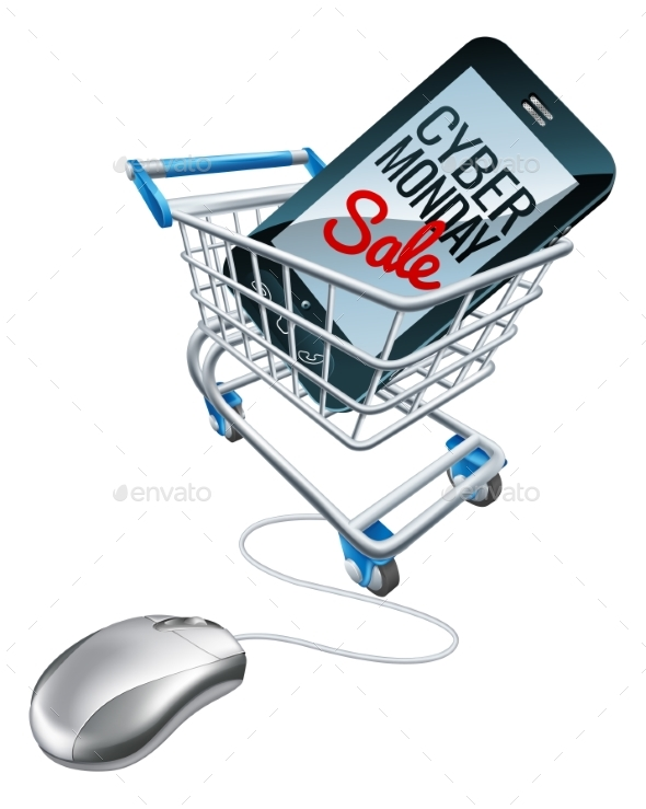 Cyber Monday Sale Phone Trolley Mouse Sign - Web Technology