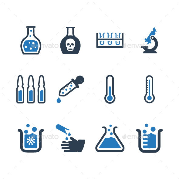 GraphicRiver Laboratory Icons Blue Version 20819888