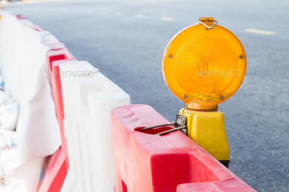 Construction site hazard warning light - Stock Photo - Images