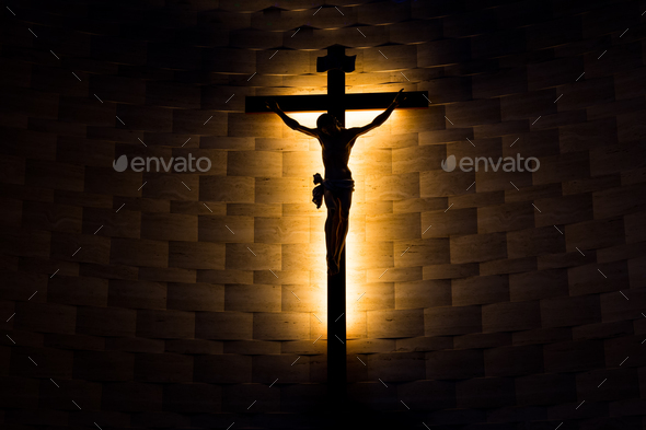 Crucifix of the Catholic Christian faith in silhouette - Stock Photo - Images