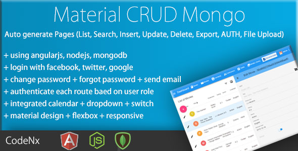 MEAN Material CRUD - AngularJS Materialized CRUD With MongoDB - CodeCanyon Item for Sale