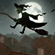 Old Terrible Witch Flying Over The Night City Roofs - VideoHive Item for Sale