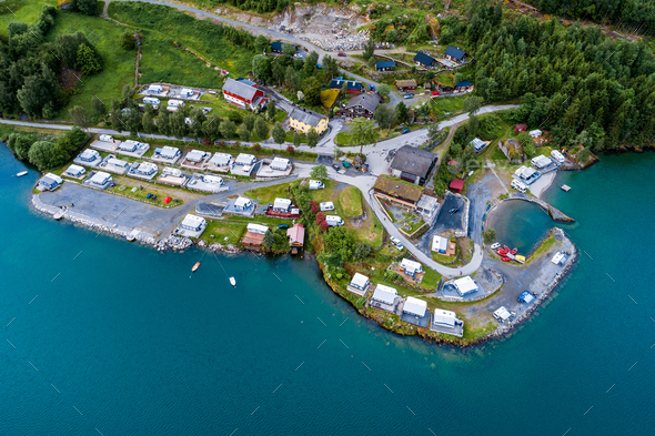 Beautiful Nature Norway Aerial view of the campsite to relax. - Stock Photo - Images