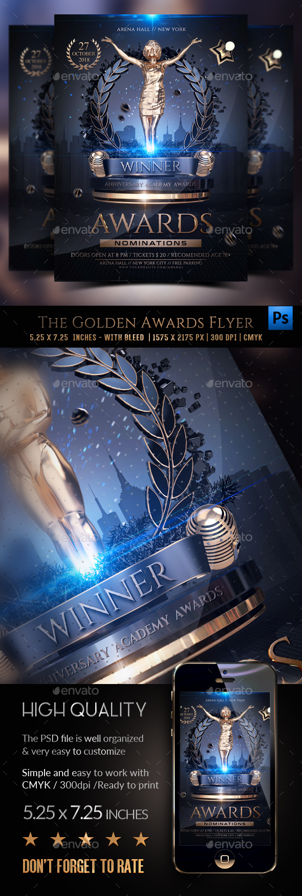 The Golden Awards Flyer Template - Clubs & Parties Events