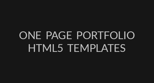 One Page Portfolios