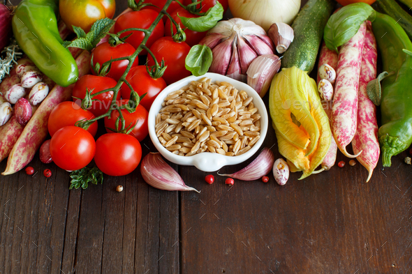 Uncooked mixed kamut with vegetables - Stock Photo - Images
