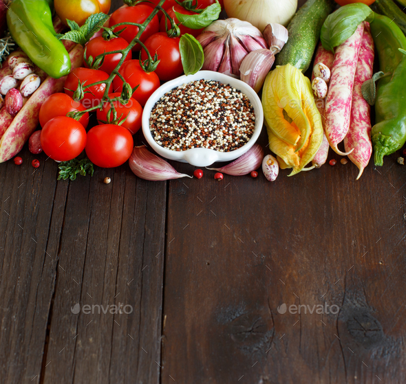 Uncooked mixed quinoa with vegetables - Stock Photo - Images