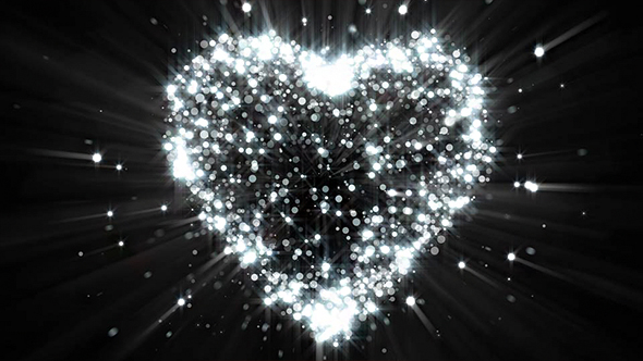 abstract dark silver glitter particle heart background by