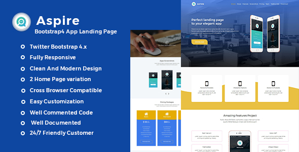 Image of Aspire -Bootstrap4 App Landing Template