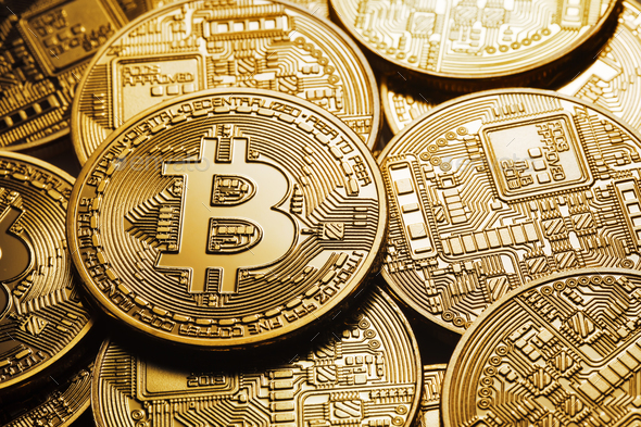 Background on a business theme from virtual bitcoin currency - Stock Photo - Images