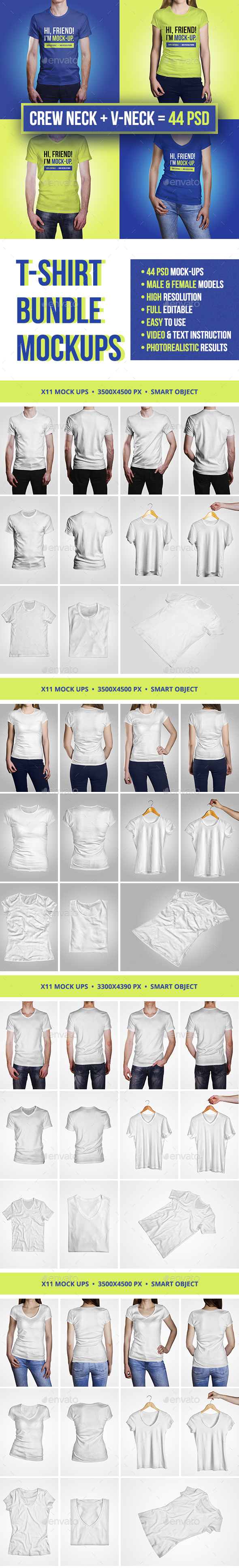 T-Shirt Bundle Mockup - T-shirts Apparel