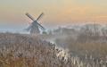 Wooden windmill in hazy landscape - PhotoDune Item for Sale