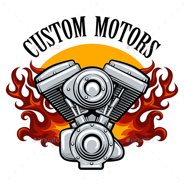 GraphicRiver Biker Club Emblem with Pistons in Flame 20821469