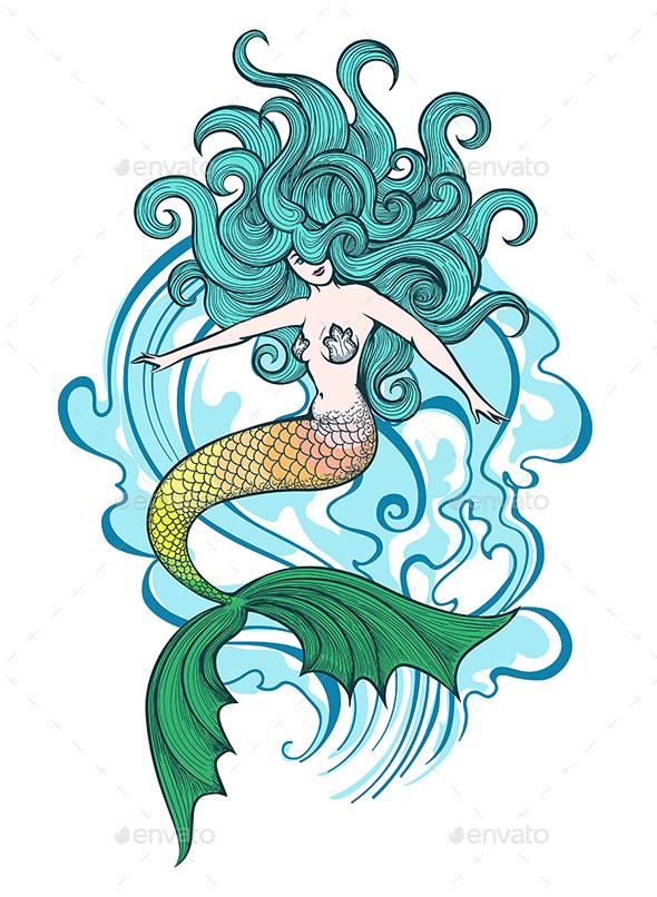 Swimming Mermaid Illustration