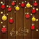 Christmas Balls and Stars on Wooden Background - GraphicRiver Item for Sale