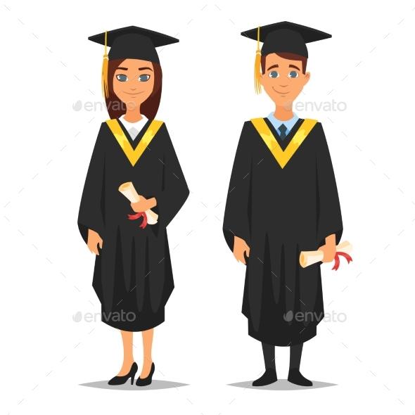 Man and Woman Graduates - Miscellaneous Vectors