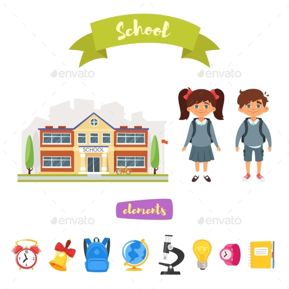 GraphicRiver School Building and Characters 20821930