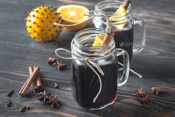 Two glasses of mulled wine  - Stock Photo - Images