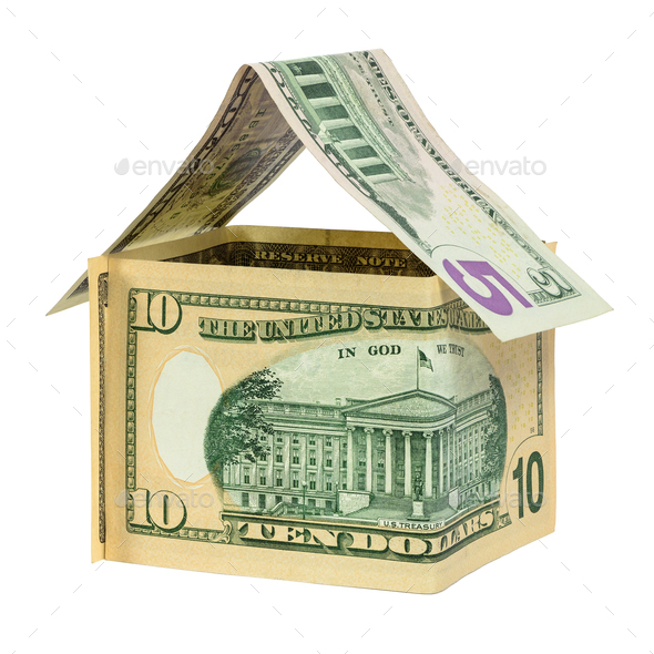 Model house made from dollar banknotes - Stock Photo - Images