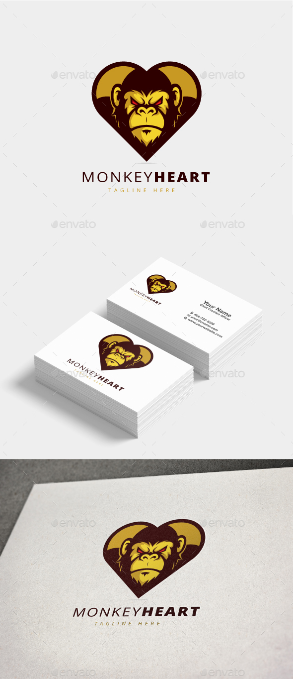 GraphicRiver Monkey Heart Logo 20822137
