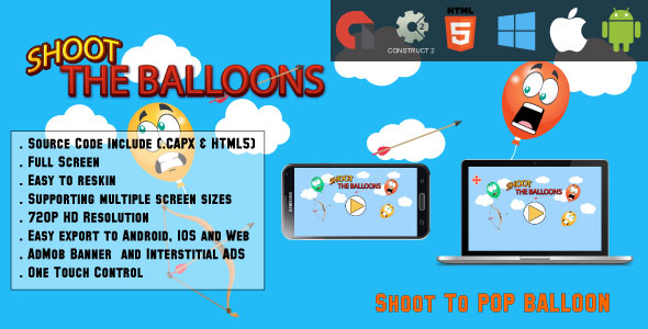 Shoot the balloons - Full Screen HTML5 Game - Web,Android & IOS + AdMob (CAPX) - CodeCanyon Item for Sale