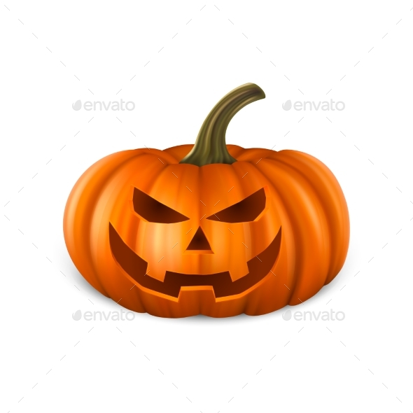 Realistic Pumpkin Head Jack Lantern Icon Closeup - Halloween Seasons/Holidays
