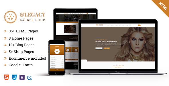 Download Legacy - Barber Shop HTML5 Template            nulled nulled version