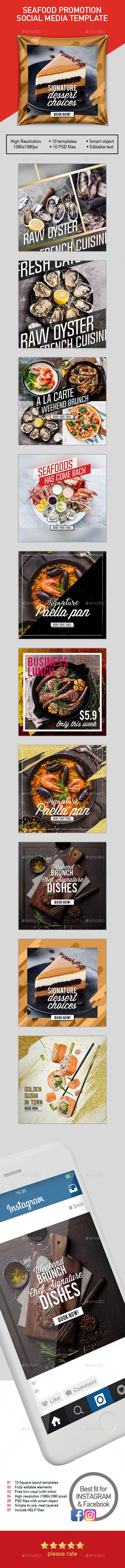 GraphicRiver Set 10 Social Templates for Restaurant 20822552