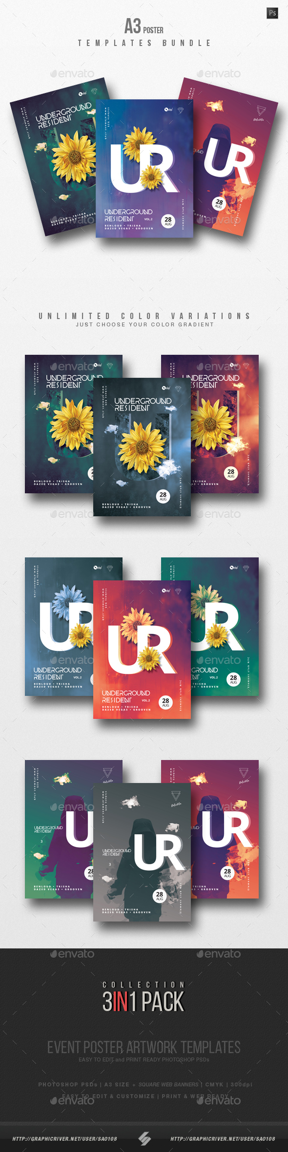 GraphicRiver Underground Resident Trilogy Party Flyer Poster Templates Bundle 20822575