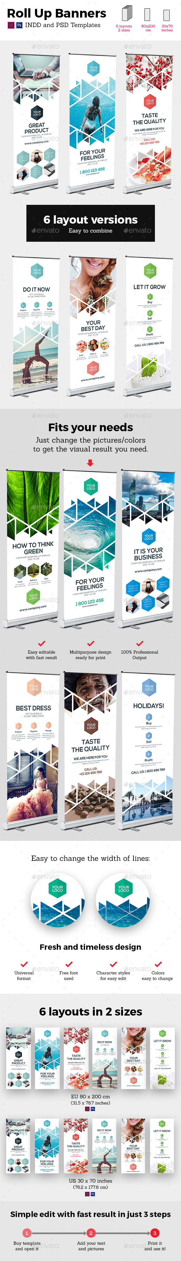 Rollup Stand Banner Display Triangle White 6x Indesign and Photoshop Template - Signage Print Templates