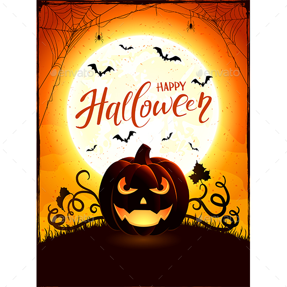 Orange Halloween Theme with Jack O Lantern on the Moon Background - Halloween Seasons/Holidays