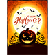 Orange Halloween Theme with Jack O Lantern on the Moon Background
