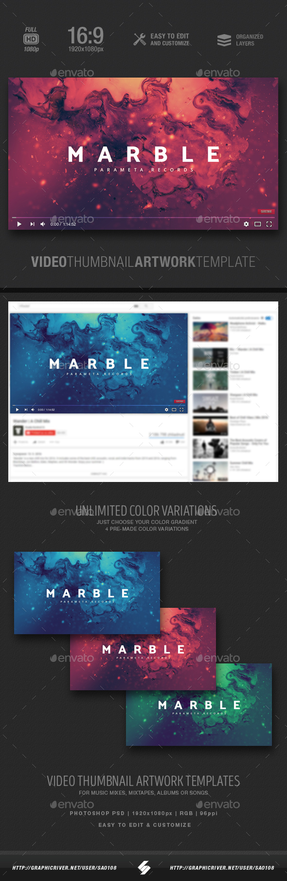 GraphicRiver Marble Music Video Thumbnail Artwork 20823019