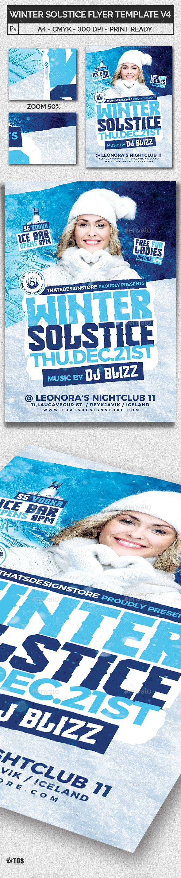 Winter Solstice Flyer Template V4 - Clubs & Parties Events