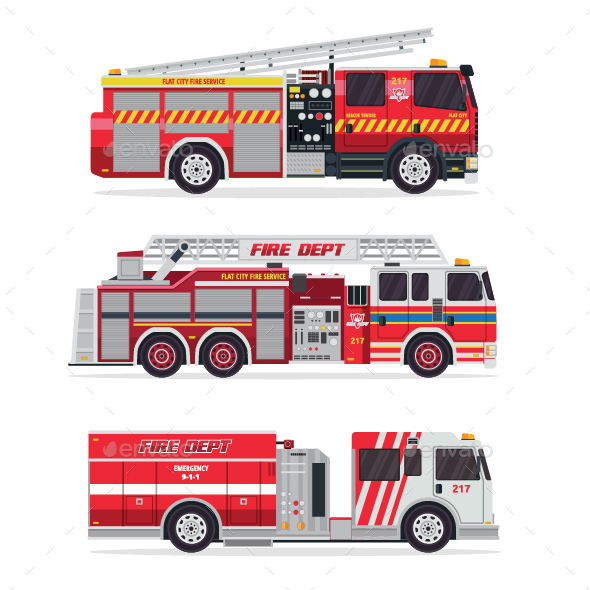 GraphicRiver Modern Firefighter Rescue Truck Illustration Set 1 20823229