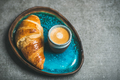 Cup of espresso coffee and croissant in tray, copy space - PhotoDune Item for Sale