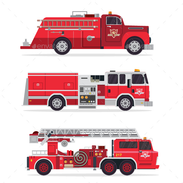 GraphicRiver Modern Firefighter Rescue Truck Illustration Set 2 20823245