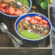 Green smoothie breakfast bowls with seeds, nuts, fruit and berries - PhotoDune Item for Sale