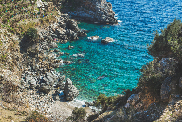 Beautiful natural clear lagoon at Mediterranean sea coast, Turkey - Stock Photo - Images