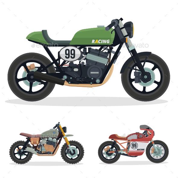 GraphicRiver Vintage Cafe Racer Motorcycle Illustration Set 1 20823257