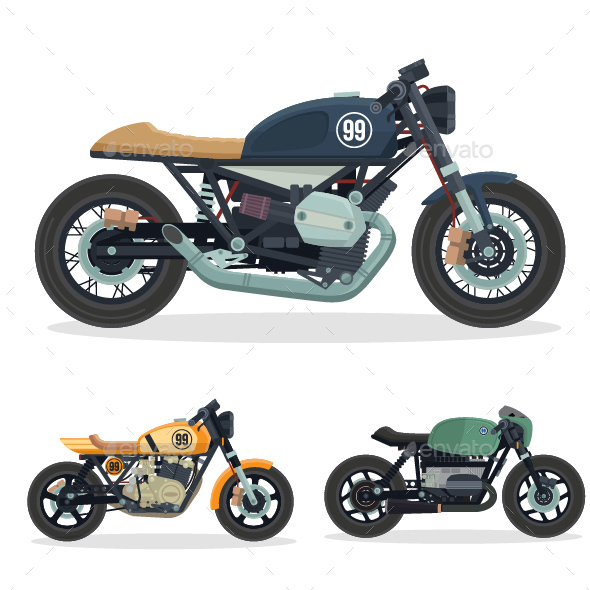 GraphicRiver Vintage Cafe Racer Motorcycle Illustration Set 2 20823271
