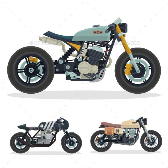 GraphicRiver Vintage Cafe Racer Motorcycle Illustration Set 3 20823284