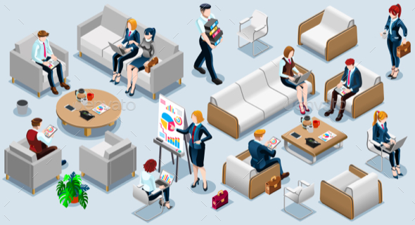 Isometric People Financial 3D Icon Set Vector Illustration - Vectors
