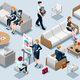 Isometric People Financial 3D Icon Set Vector Illustration