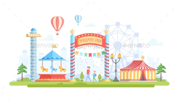 GraphicRiver City with Amusement Park Modern Flat Design 20823448