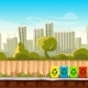 Recycle Waste Bins with Cityscape Background