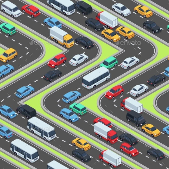 GraphicRiver Urban Cars Seamless Texture Isometric Roads and 20823540